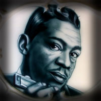 airbrush painting portrait blues star little walter