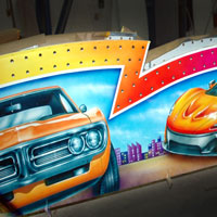 airbrush aerograf autodrom autoscooter attraction carrousel karuzele tuning cars race speed firebird