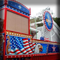 attraction painting aerograf art kolotoc karuzel carrousel ferris wheel american bald eagle flag flachs rides