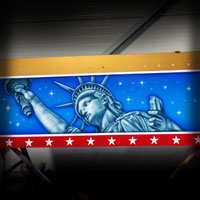 airbrush attraction painting art karuzela kolotoc karuzel ferris wheel diabelski młyn american bald eagle flachs rides
