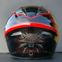 airbrush aerograf witcher black wolf motorcycle helmet