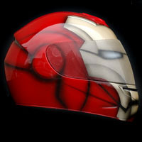 custompainting kask helmet ironman motorcycle