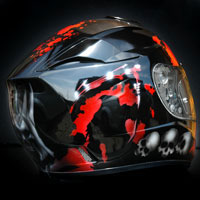 airbrush helmet skulls blood death red black