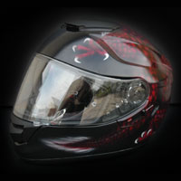 aerograf airbrush smok red dragon helmet