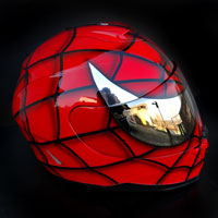 aerograf airbrush red spiderman kask helmet krakow