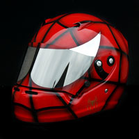 airbrush aerograf spiderman helmet red