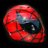 helmet kask spiderman red metalic
