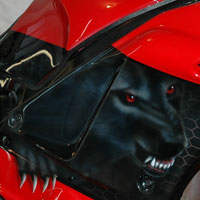 airbrush aerograf motorcycle red graphite