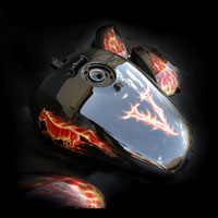 airbrush ainting motocykl motorcycle chopper flame truefire horse mustang vulcan